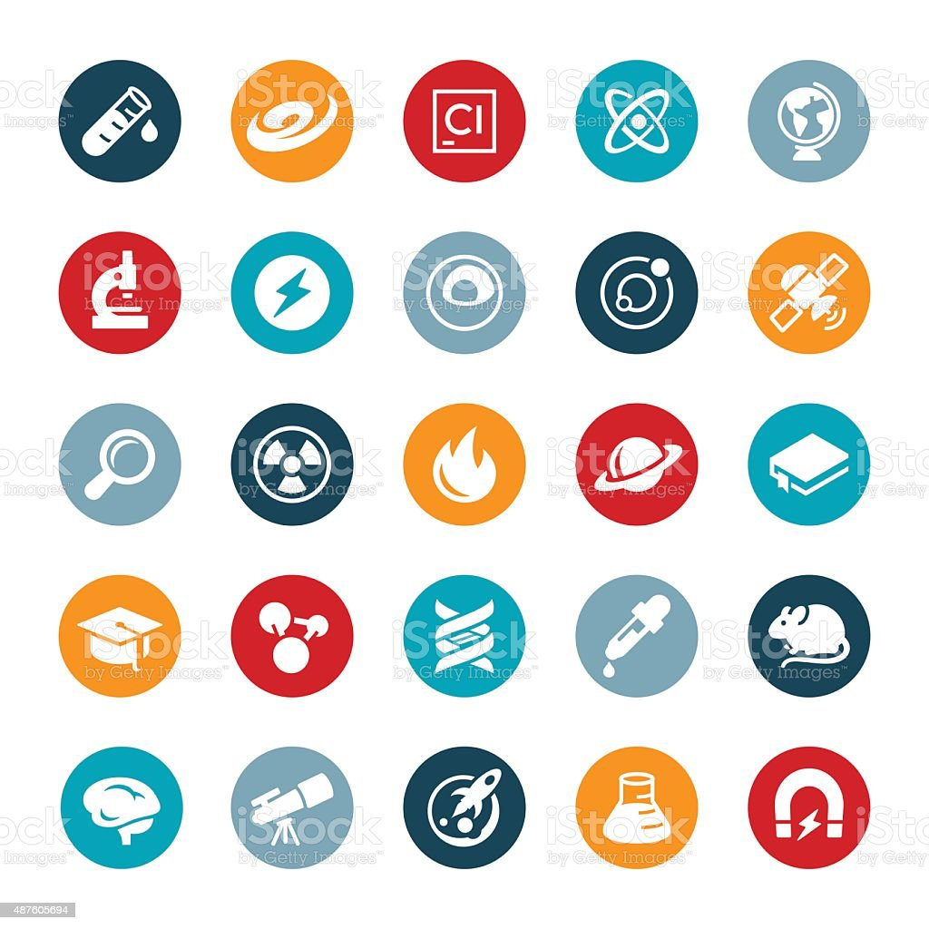 Science and Research Icons vector art illustration