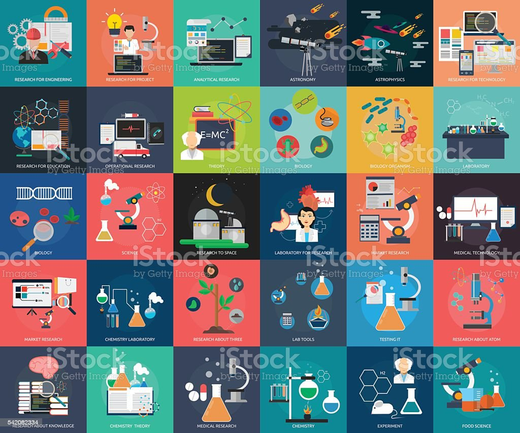 Science and Research vector art illustration
