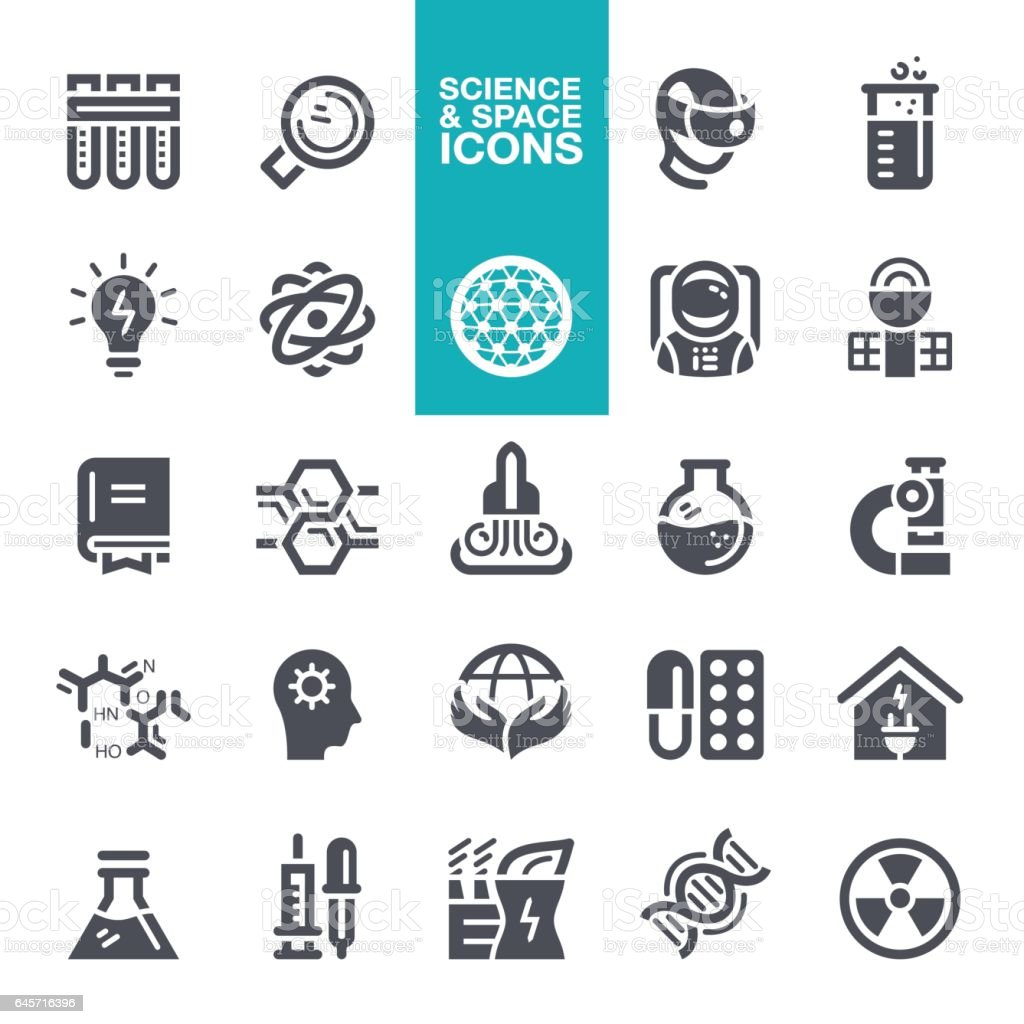 Science and Space Icon set vector art illustration