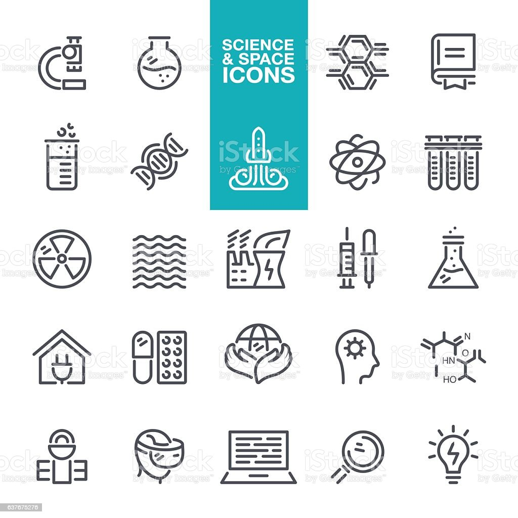 Science and Space Icons vector art illustration