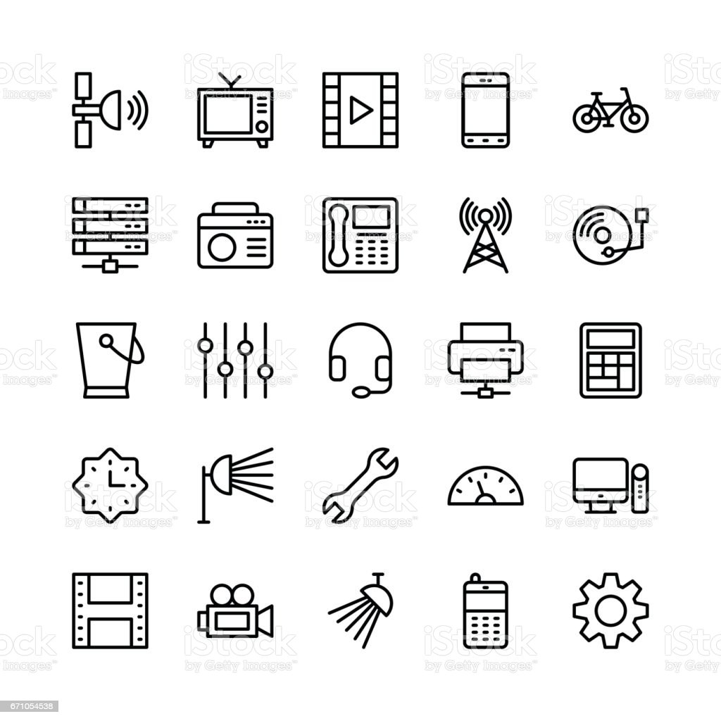 Science and Technology Line Vector Icons 10 vector art illustration