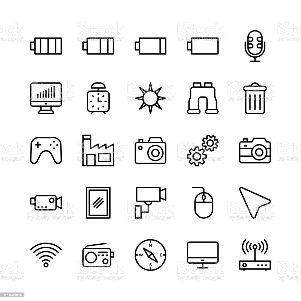 Science and Technology Line Vector Icons 13 vector art illustration