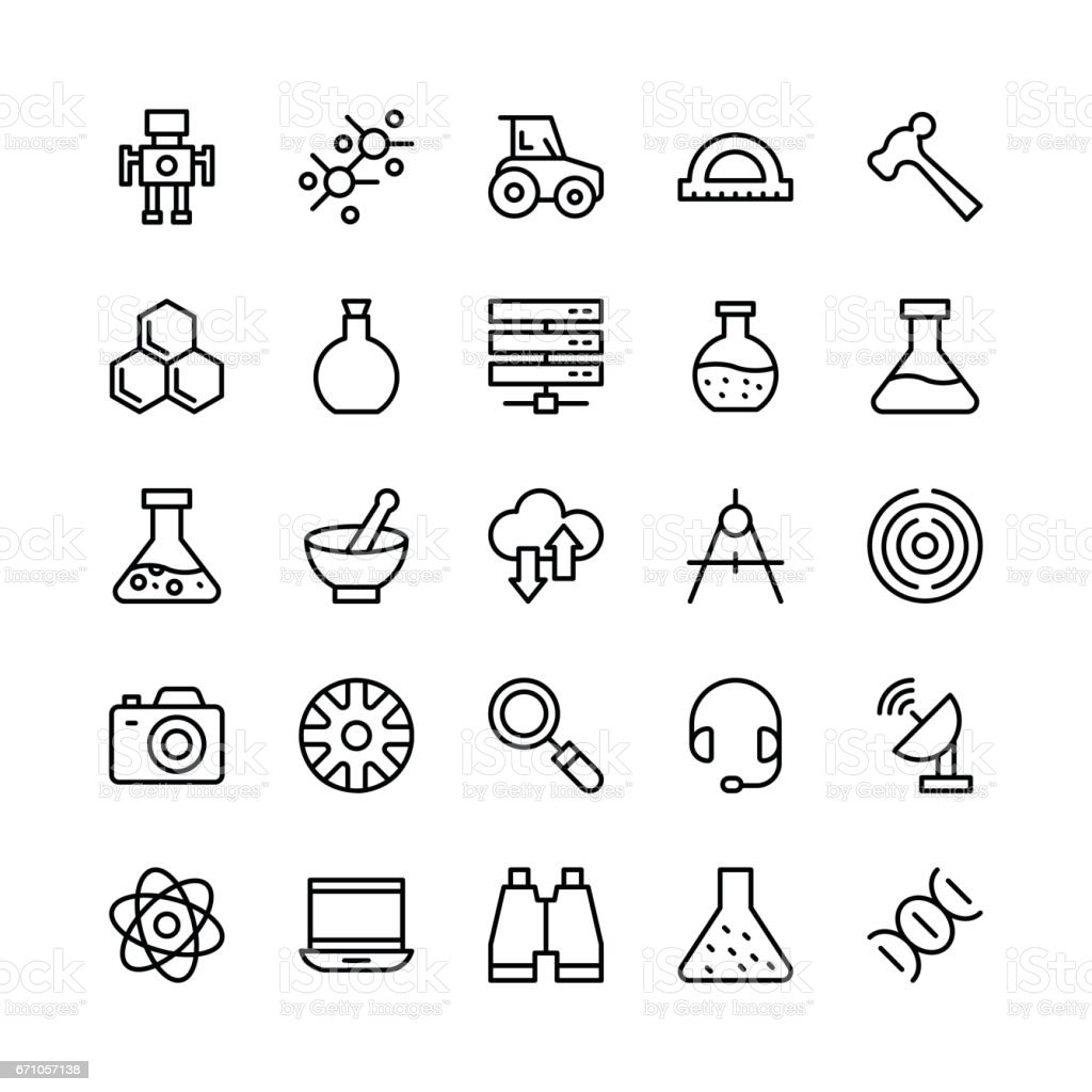 Science and Technology Line Vector Icons 8 vector art illustration