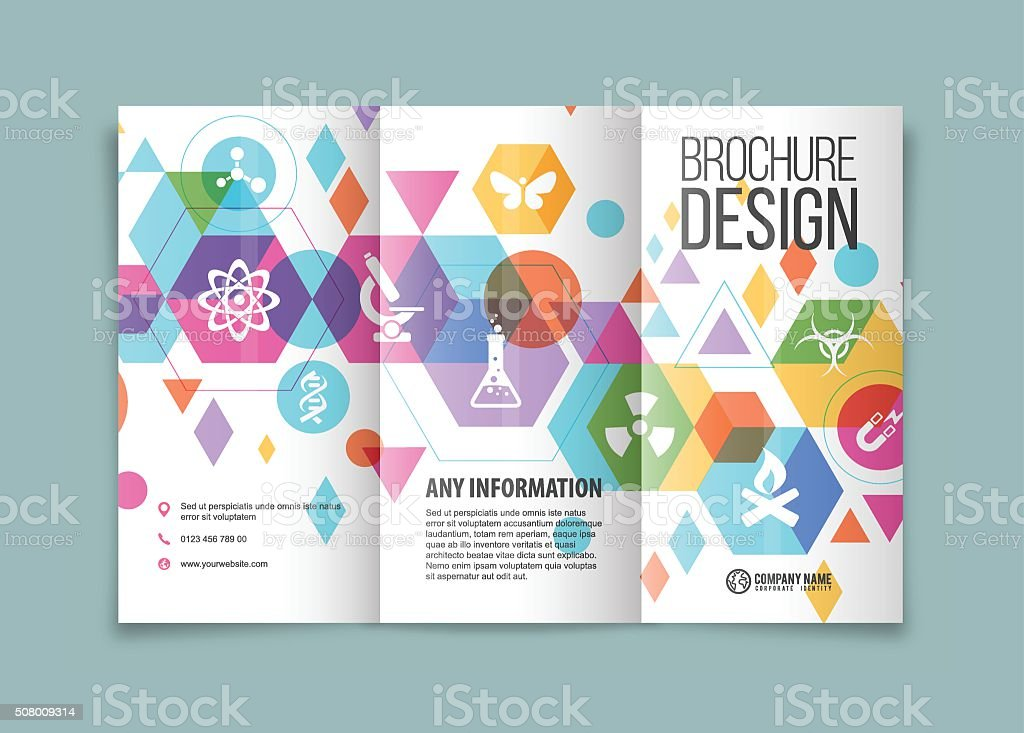 Science and technology trifold vector art illustration