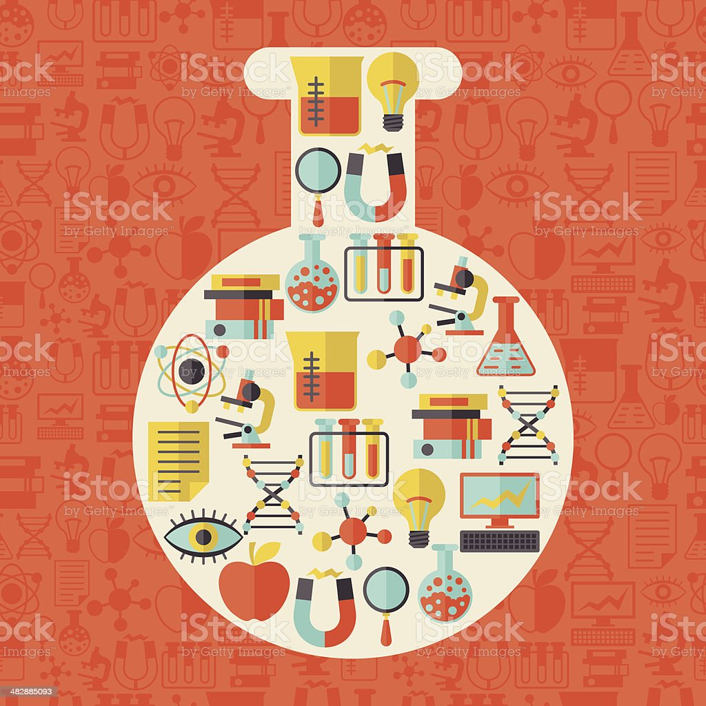 Science concept illustration in shape of tube. vector art illustration