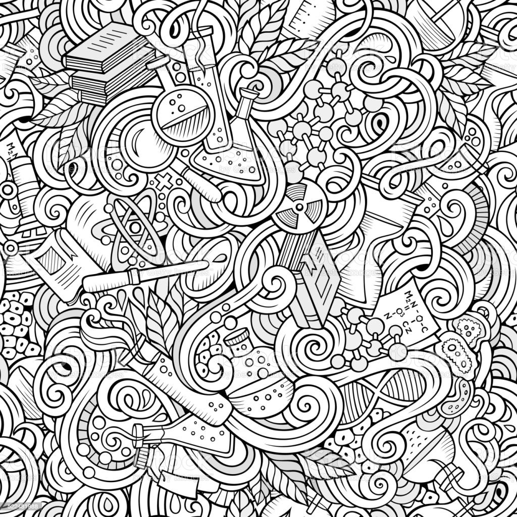 Science doodles seamless pattern vector art illustration