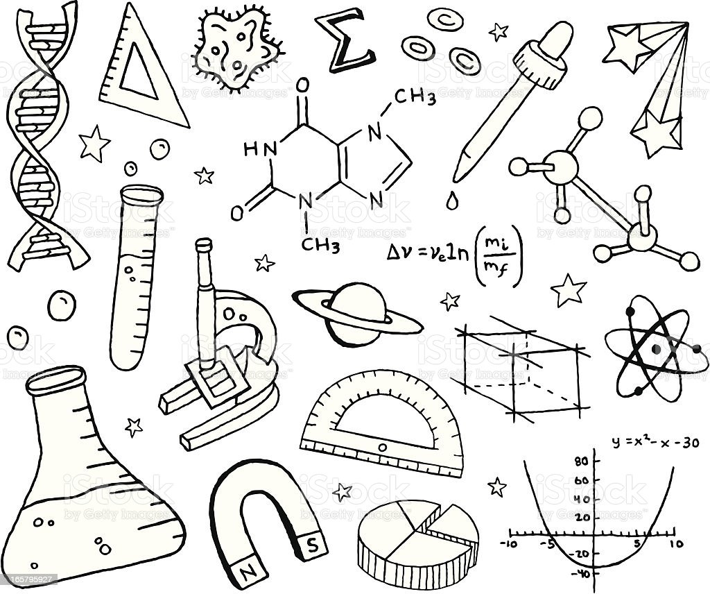 Science Doodles vector art illustration