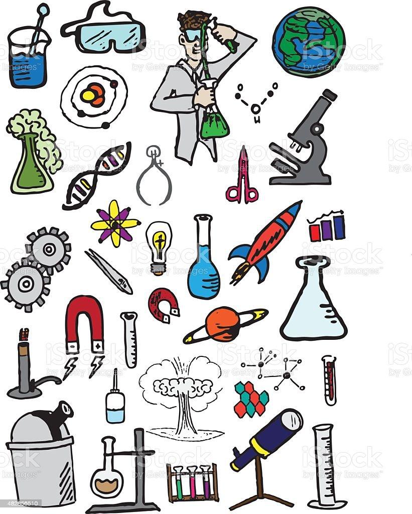 Science Doodles vector art illustration