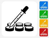 Science Dropper Icon Flat Graphic Design