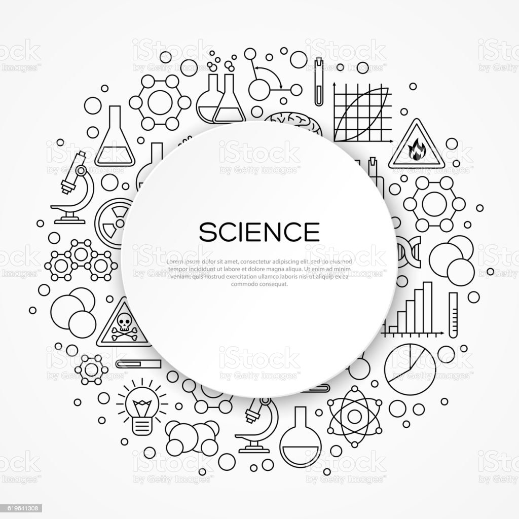 Science Education Background with Round Frame vector art illustration