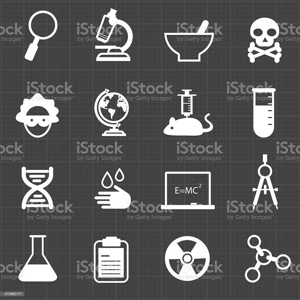 Science education icons and black background royalty-free stock vector art