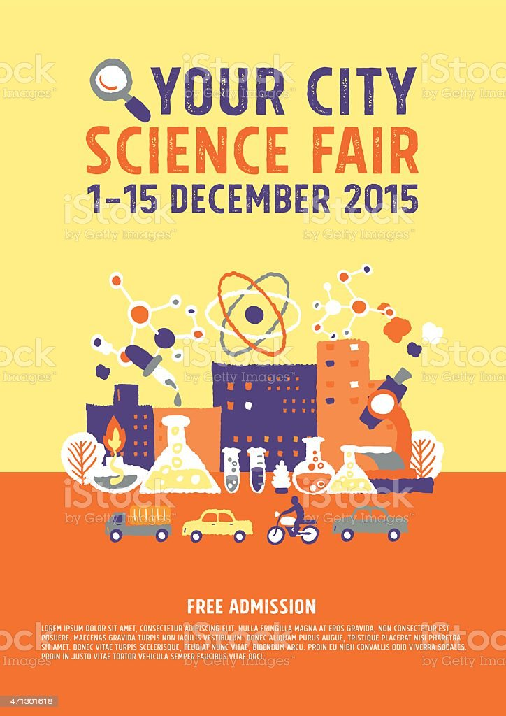 Science Fair poster concept vector art illustration