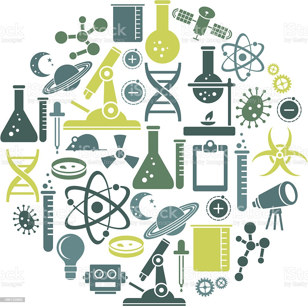 Science icon set contains variety of scientific tools vector art illustration