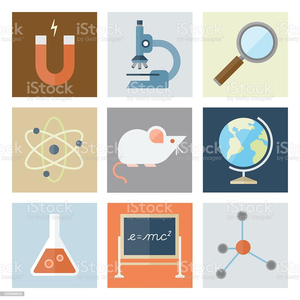Science Icons — Flat Series vector art illustration