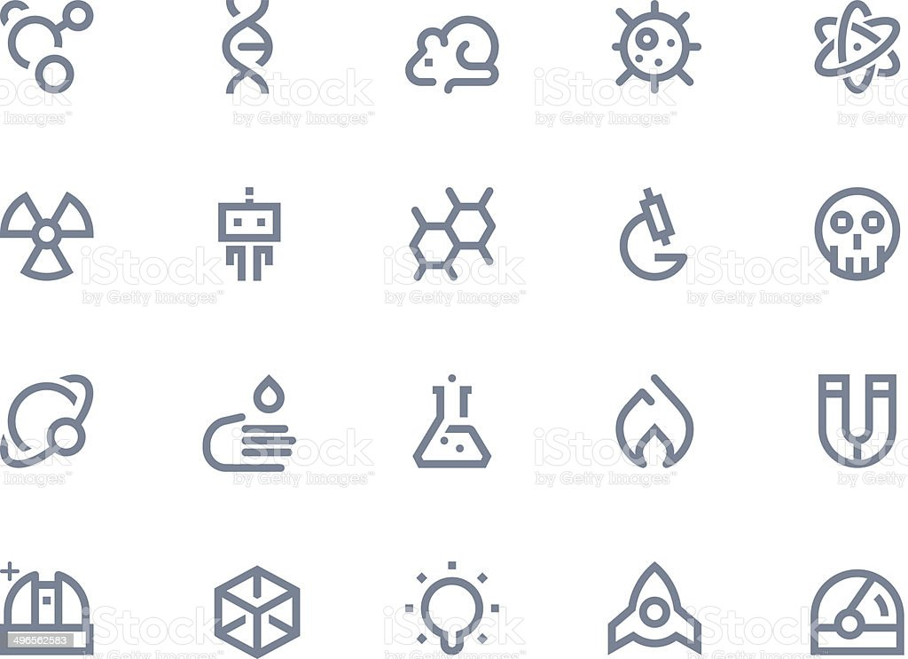 Science icons. Line series vector art illustration