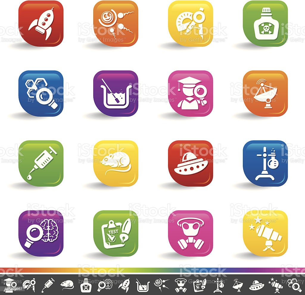 Science icons | Rainbow Series royalty-free stock vector art