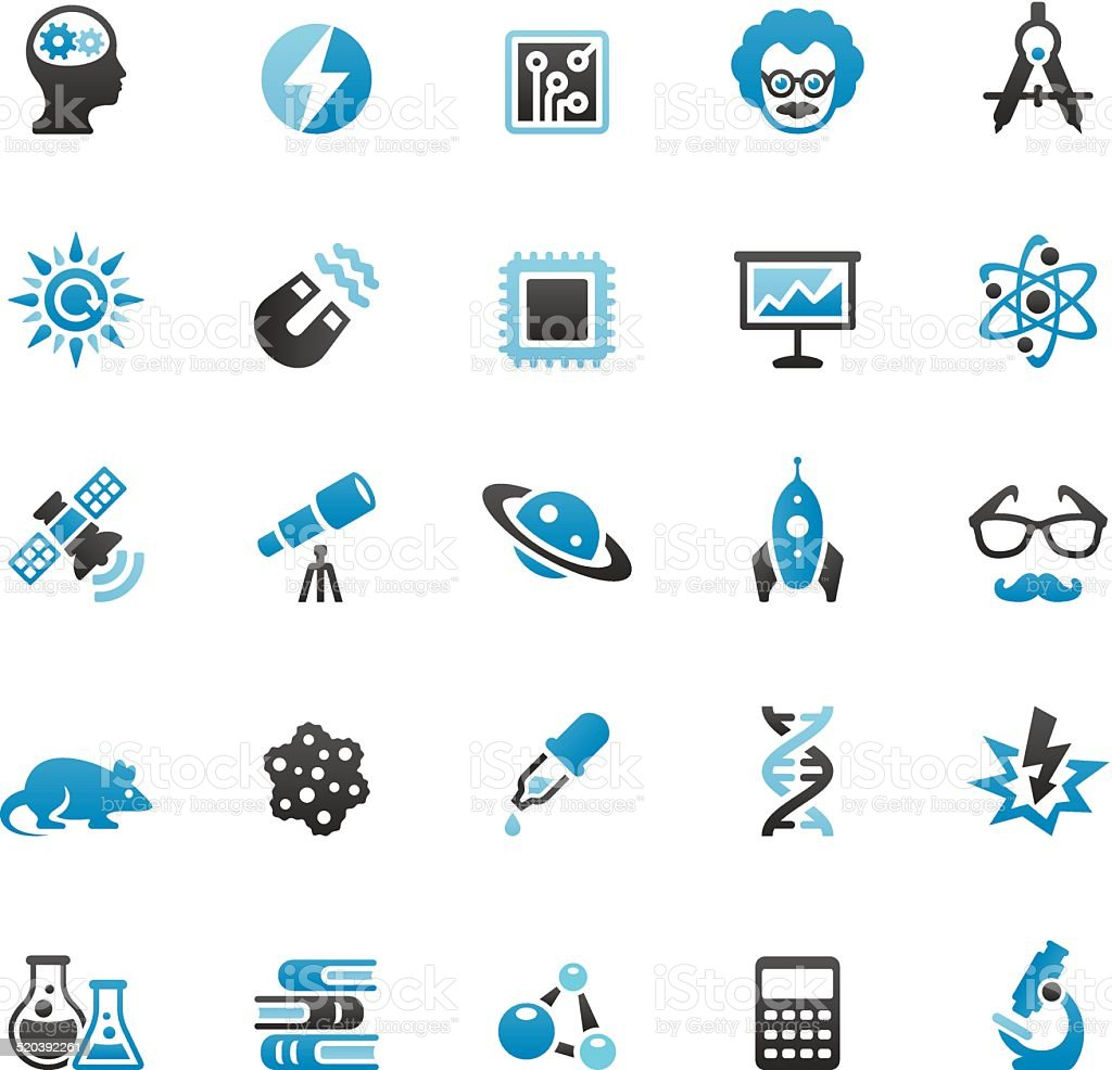 Science icons set vector art illustration