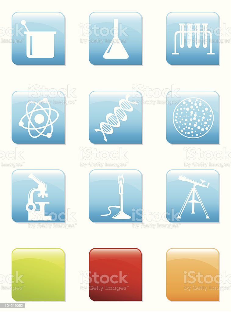Science icons royalty-free stock vector art
