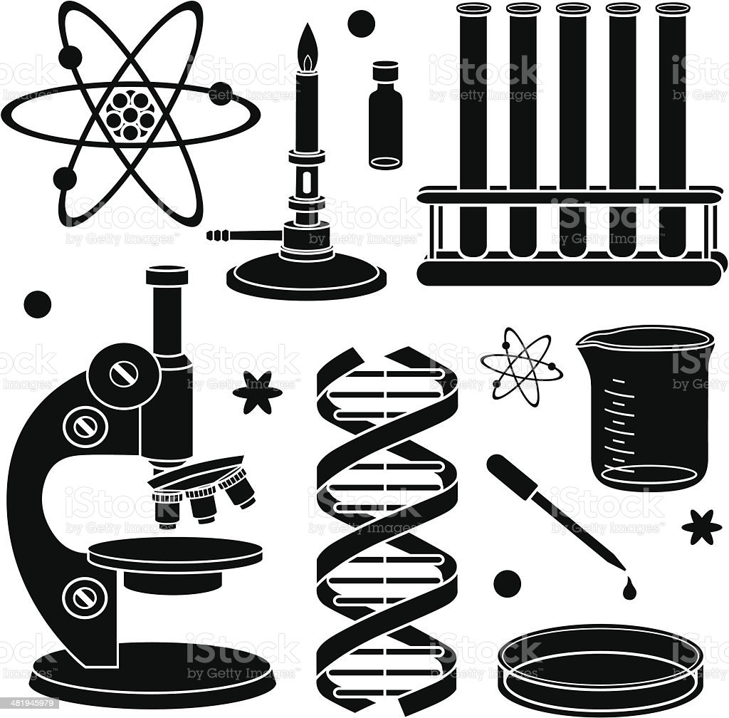 science icons vector art illustration