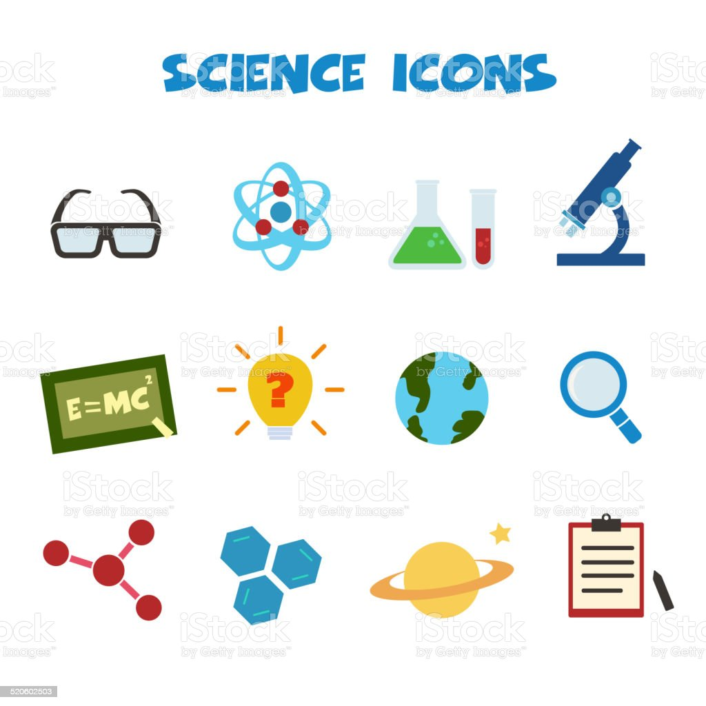 Pics photos clip art cartoon scientist with question mark stock - Eyeglasses Laboratory Planet Space Planet Earth Question Mark Science Icons Royalty Free Stock Vector Art
