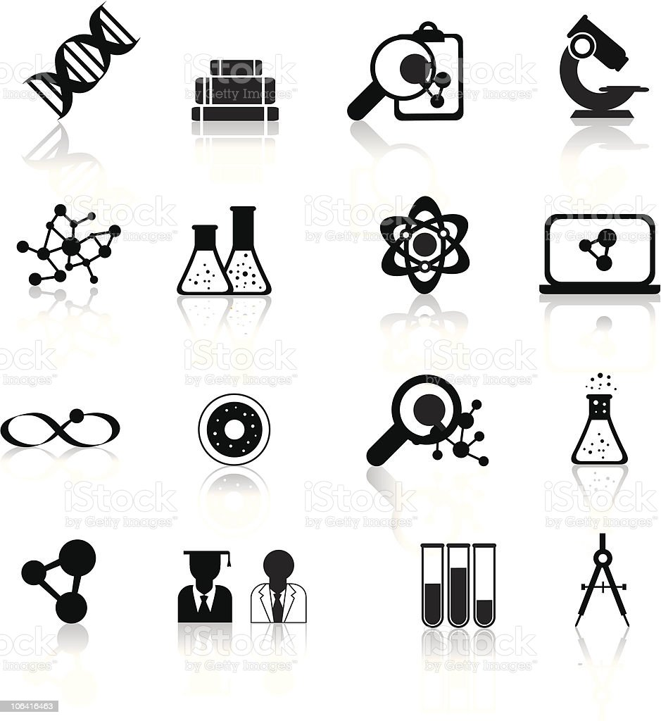 science illustration icon set royalty-free stock vector art
