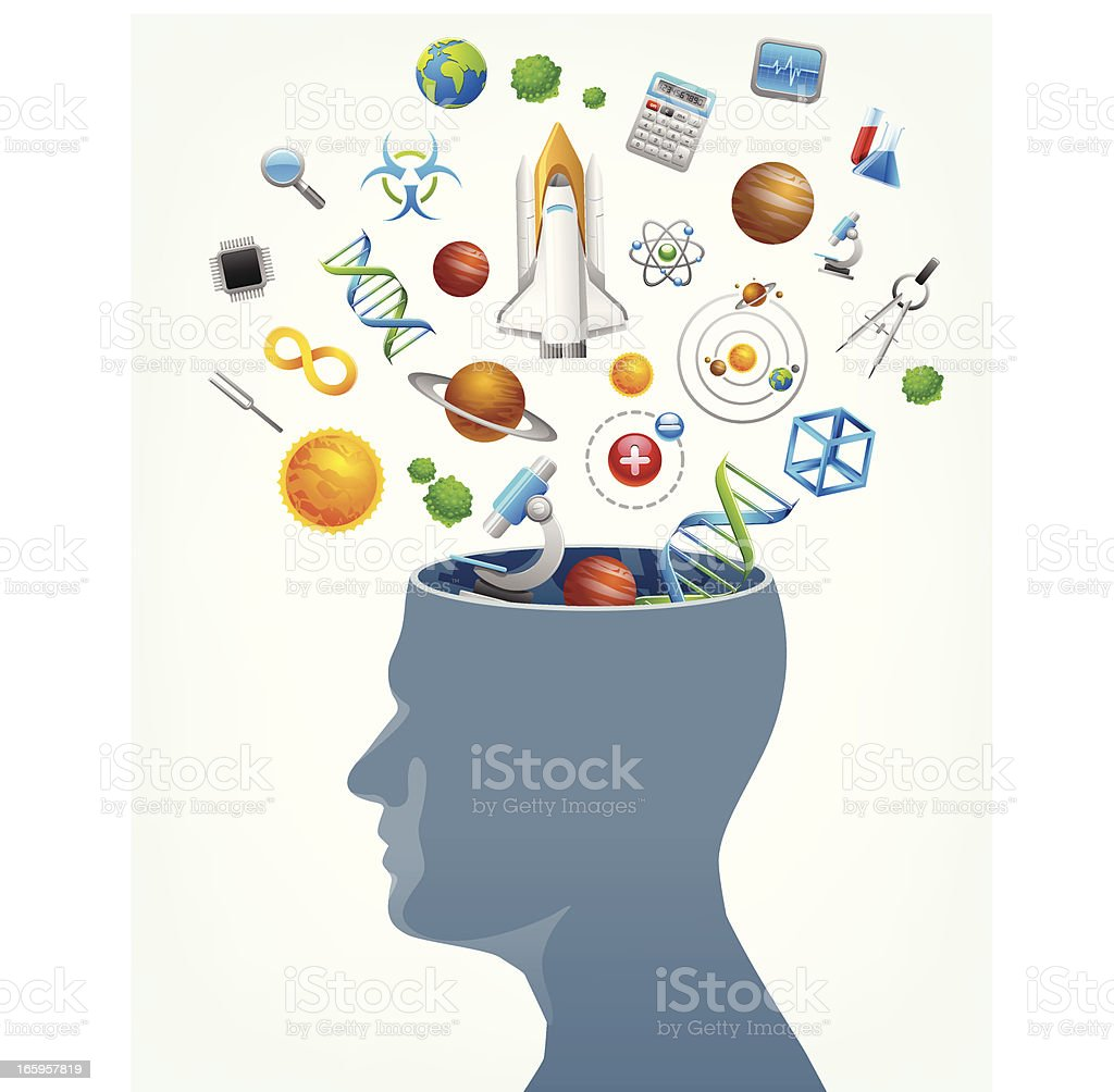 Science in mind concept with vector head and icons royalty-free stock vector art