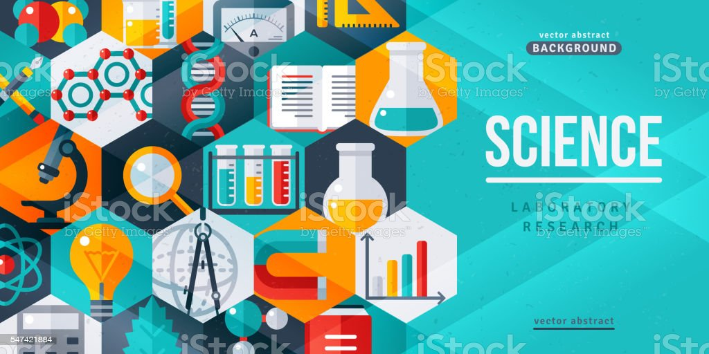 Science laboratory research creative banner vector art illustration