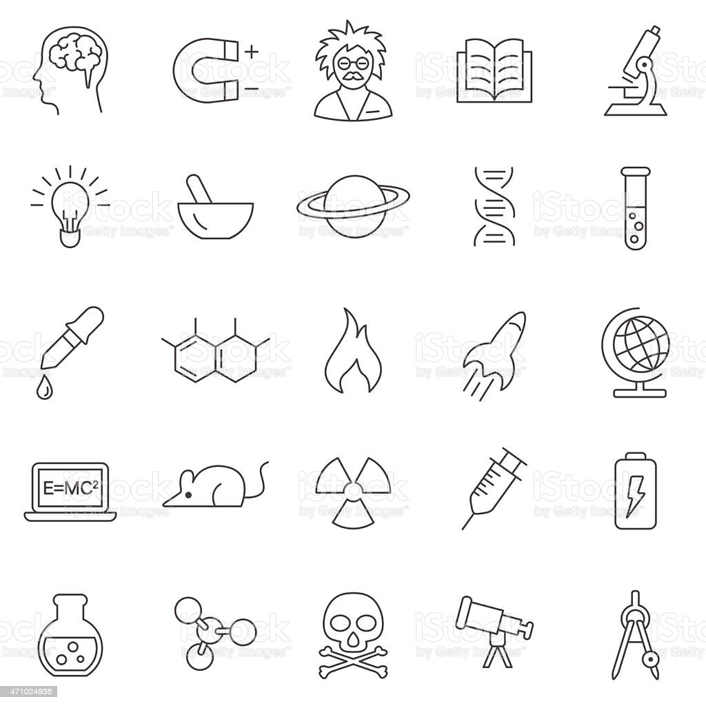 Science line icons set.Vector vector art illustration