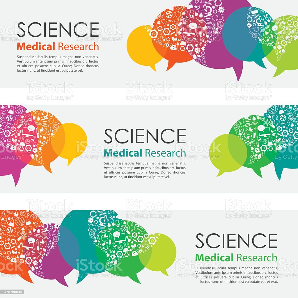Science Medical Research Banners And Icon Set vector art illustration