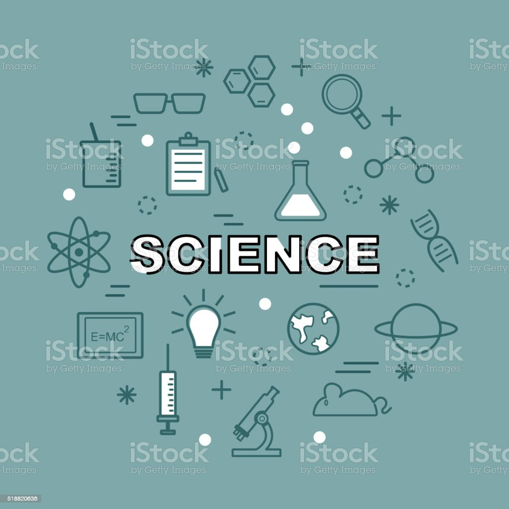 science minimal outline icons vector art illustration