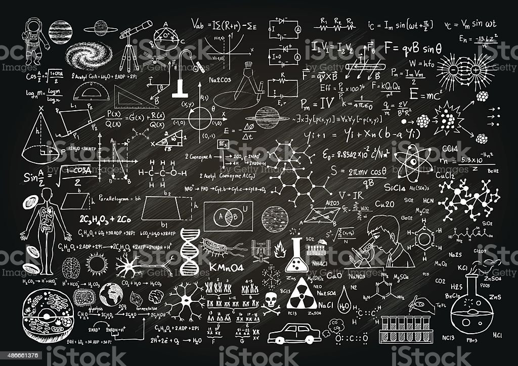 science on chalkboard vector art illustration