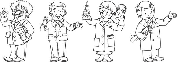 Science Coloring Book : Science lab coats for kids clip art vector images & illustrations