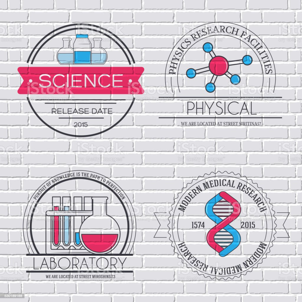 Science set label template of emblem element for your product vector art illustration