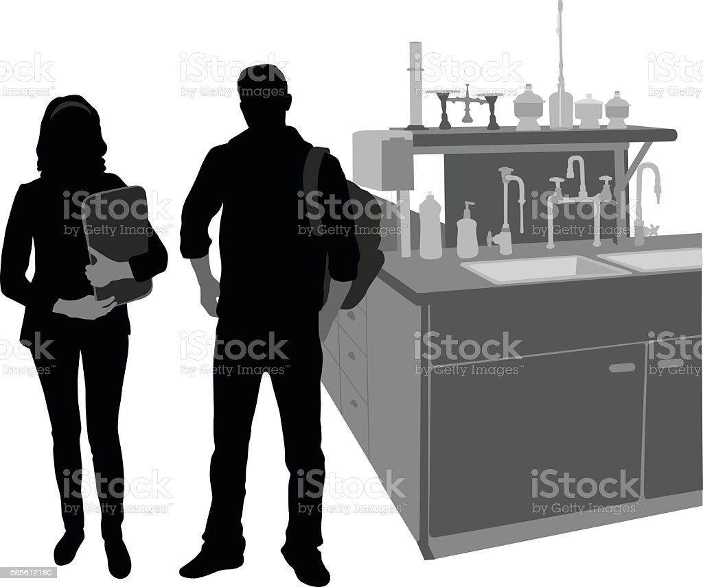 Science Students In The Lab vector art illustration