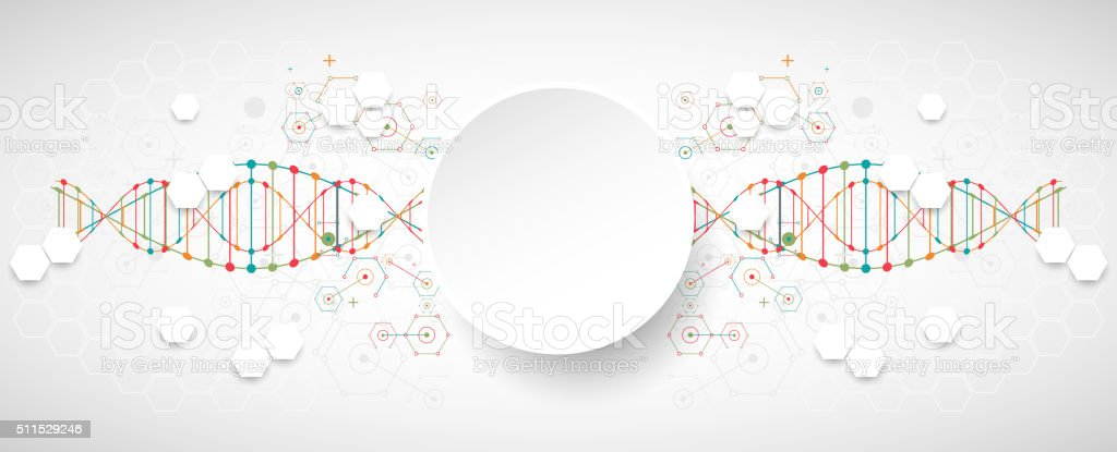 Science template,  banner with a DNA molecules. vector art illustration