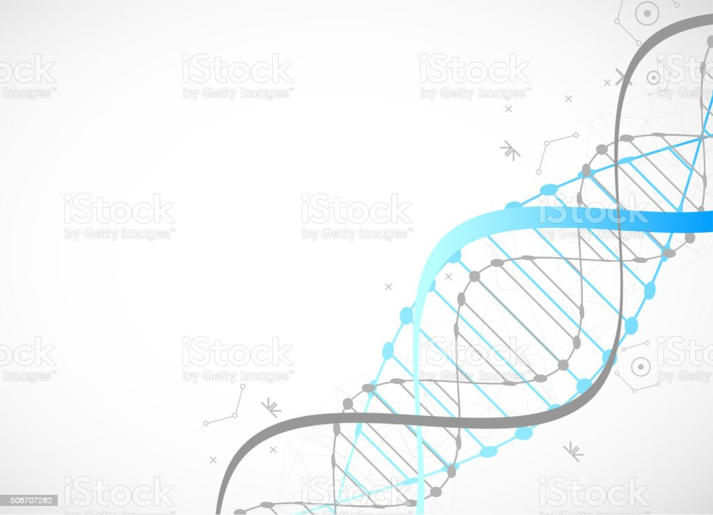 Science template, blue wallpaper or banner with a DNA molecules vector art illustration