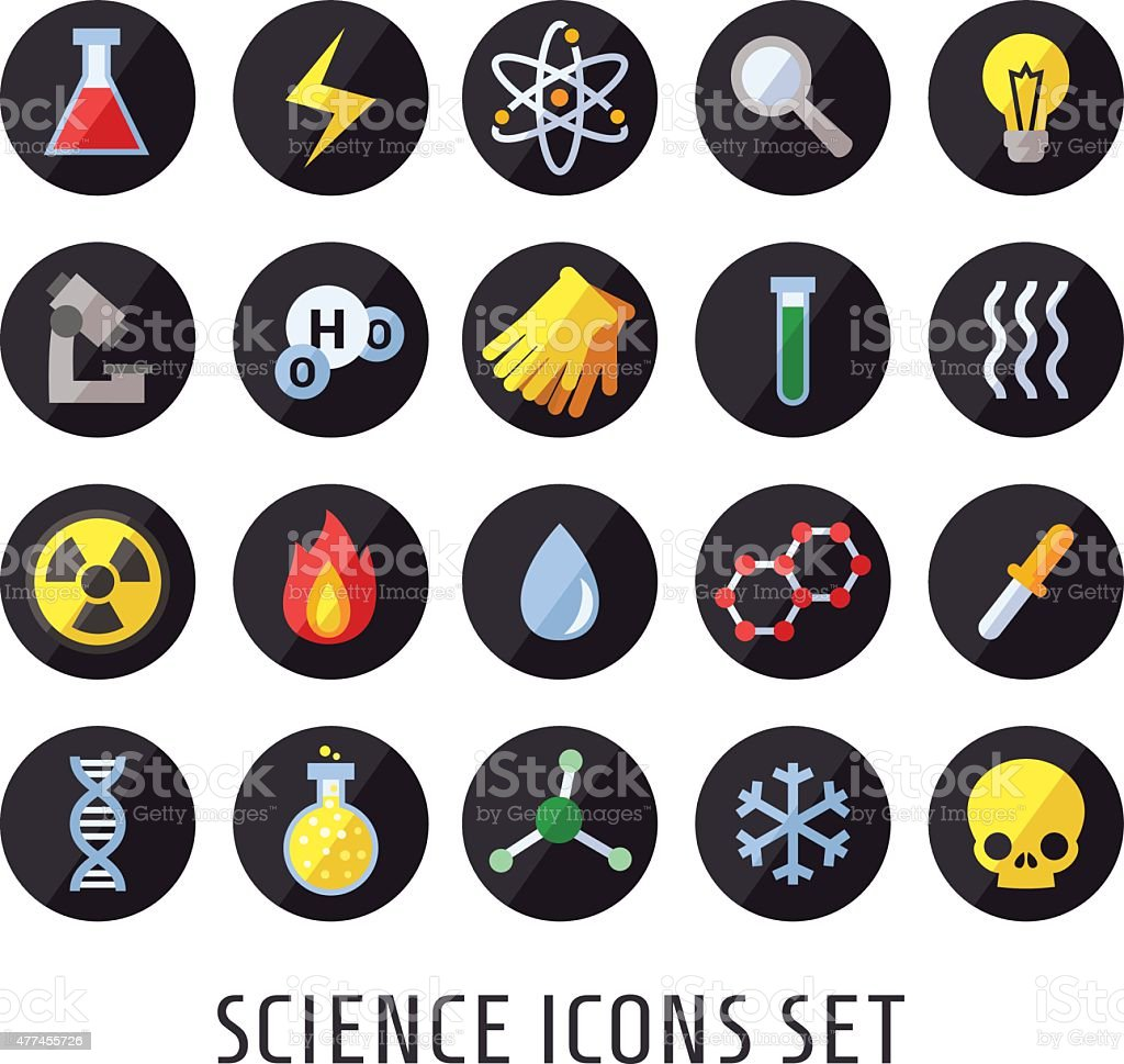 Science vector icons. Chemistry, Physics and Biology. vector art illustration