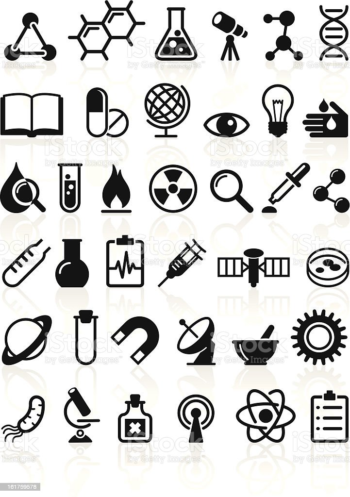 Science vector icons vector art illustration