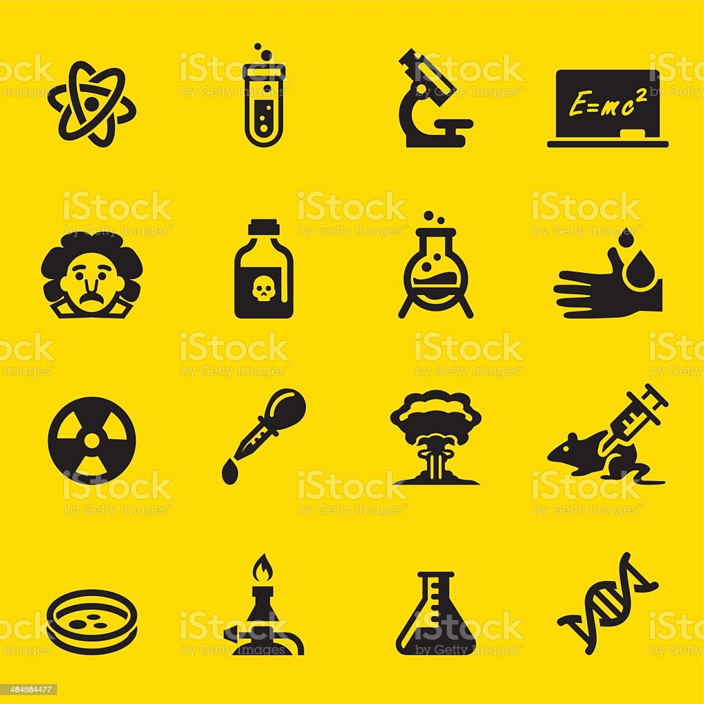 Science Yellow Silhouette icons vector art illustration