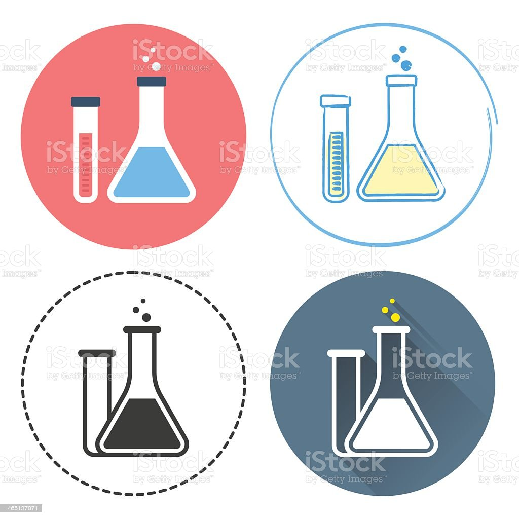 Scientific flask and tube icons in circles with blue and red vector art illustration