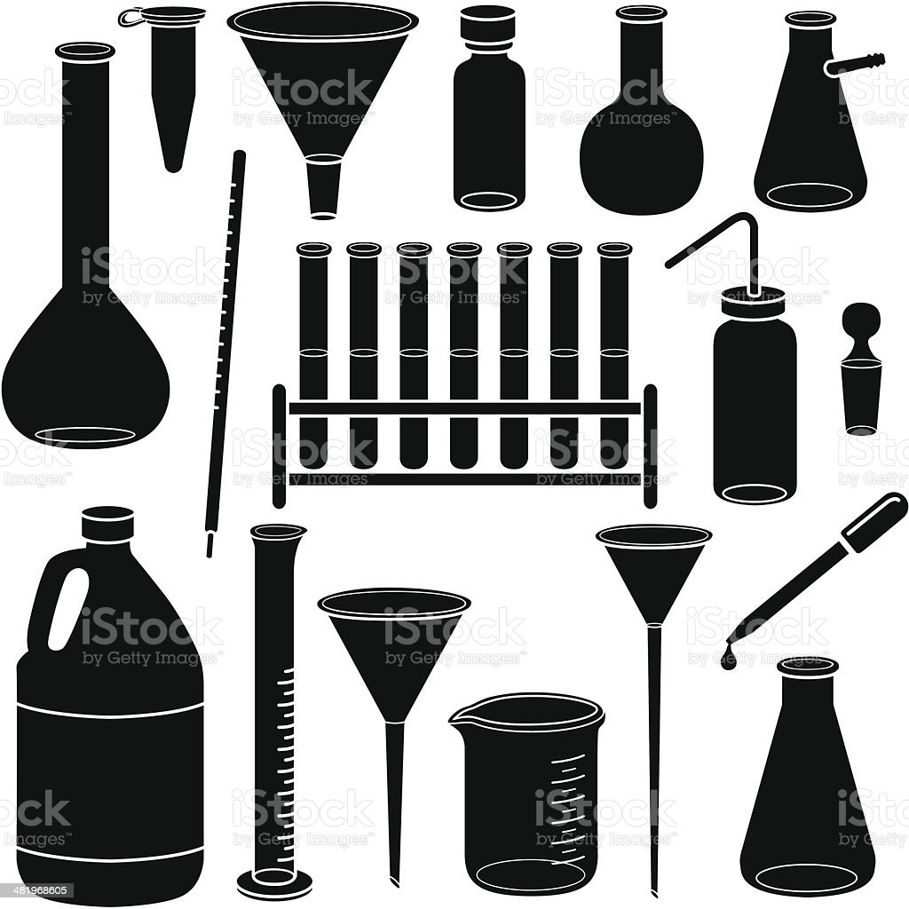 scientific glassware and laboratory equipment vector art illustration