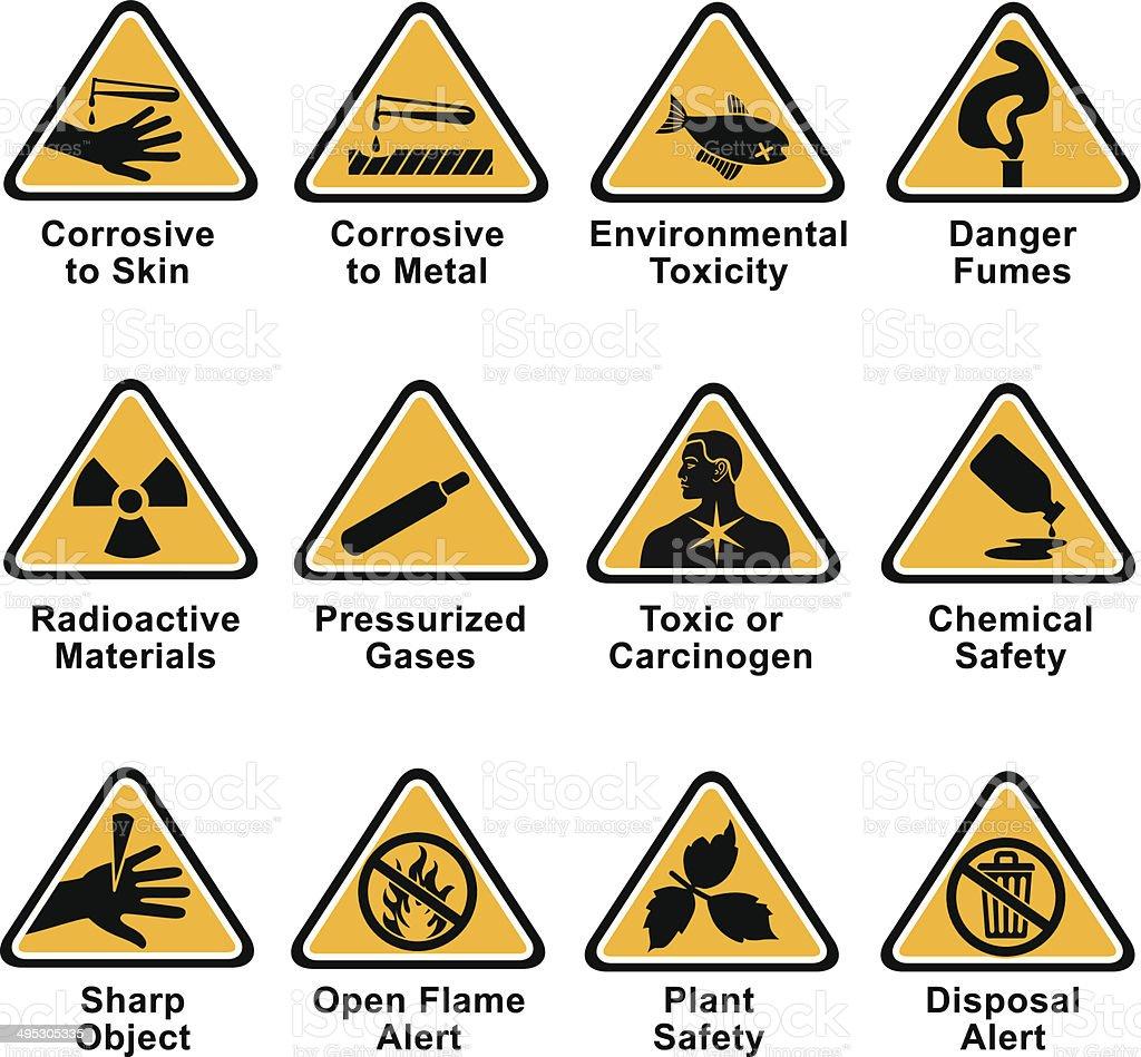 scientific hazard icons vector art illustration
