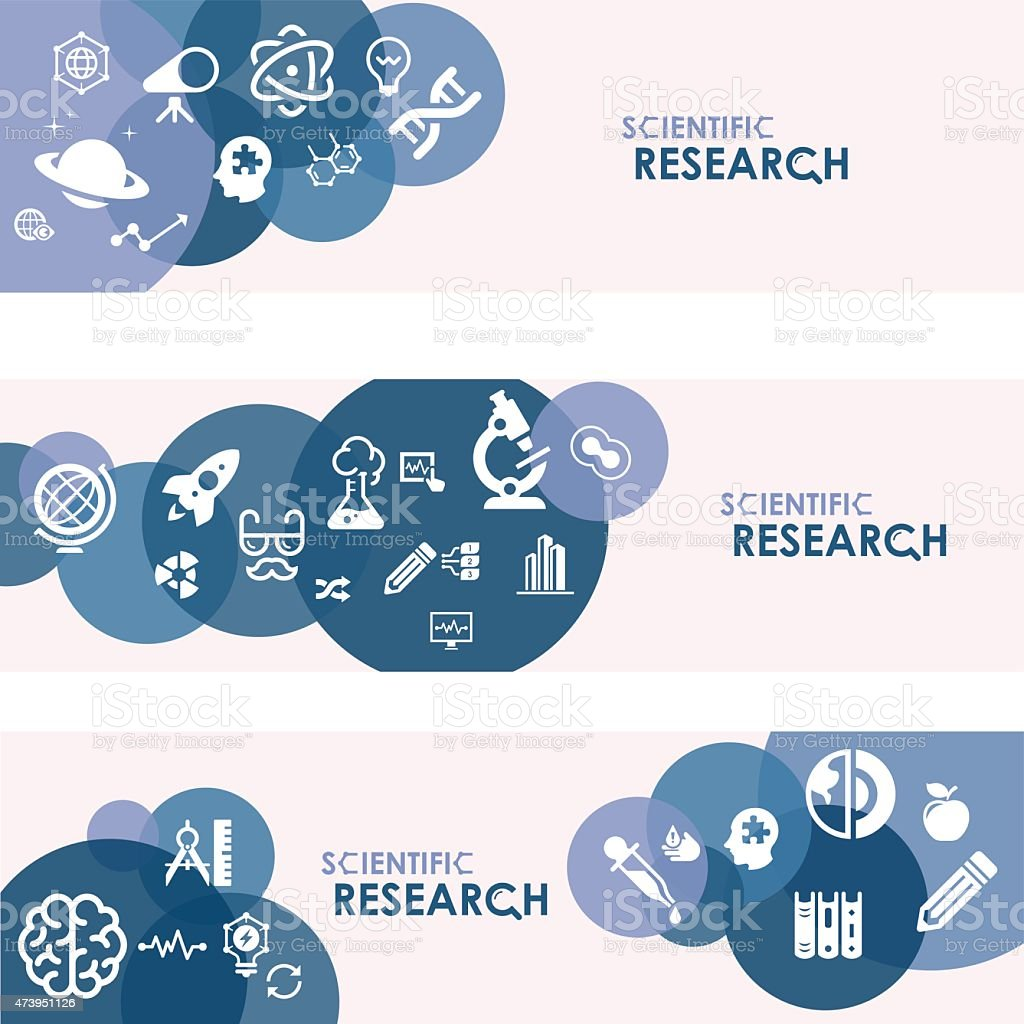 Scientific research banners and icons in 3 different sets vector art illustration