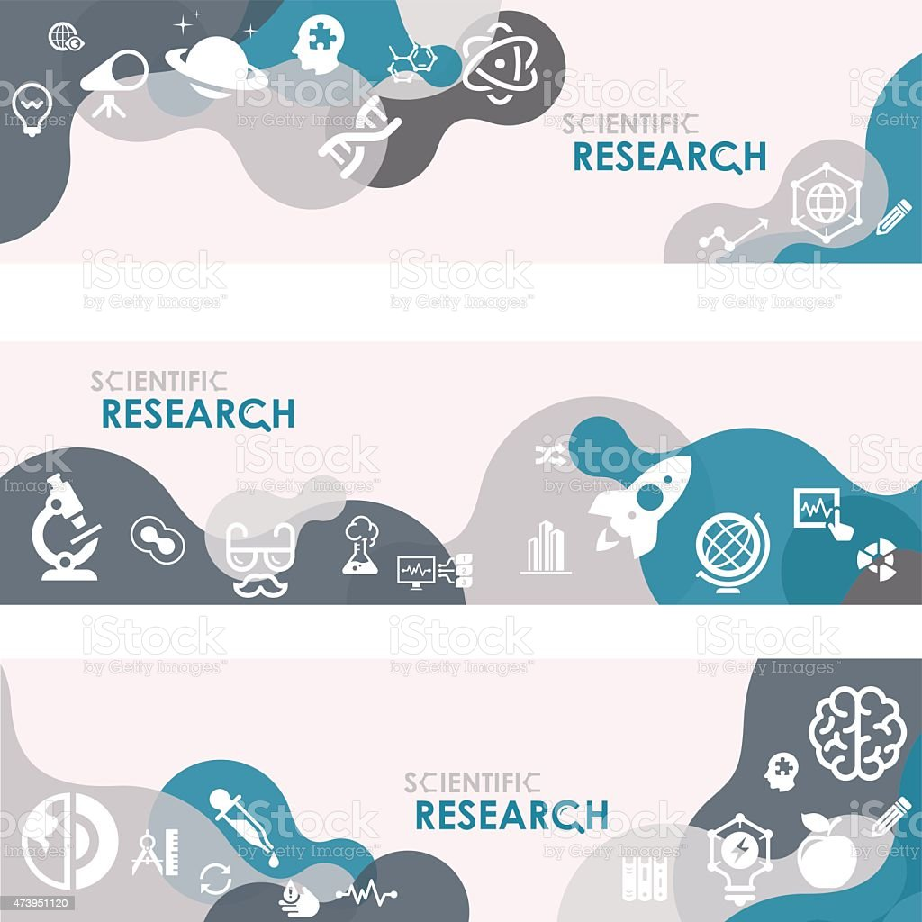 Scientific research Banners And Relevant Icon Set vector art illustration