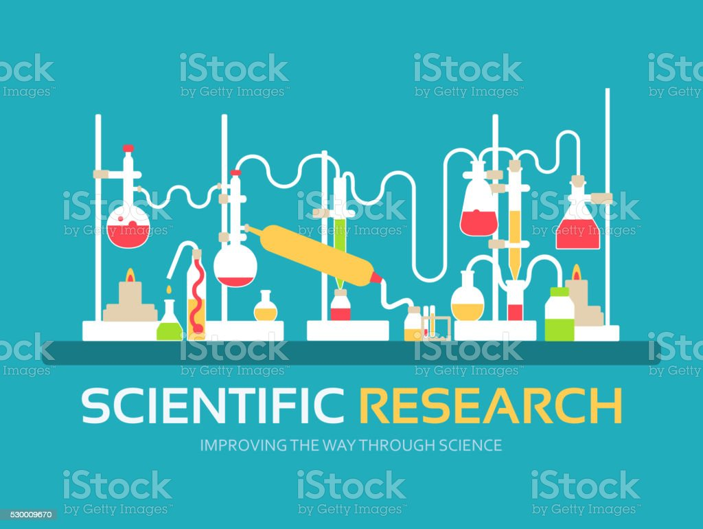 Scientific research in flat design background concept vector art illustration