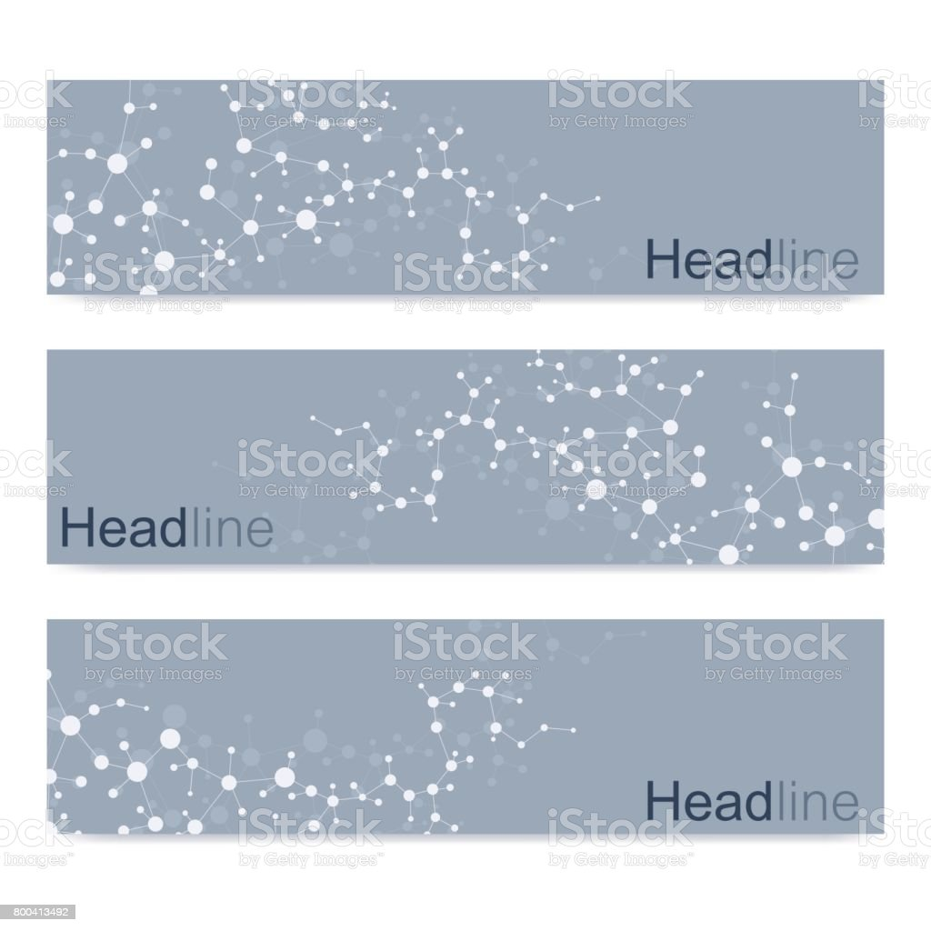 Scientific set of modern vector banners. DNA molecule structure with connected lines and dots. Science vector background. Medical, tecnology, chemistry design. vector art illustration