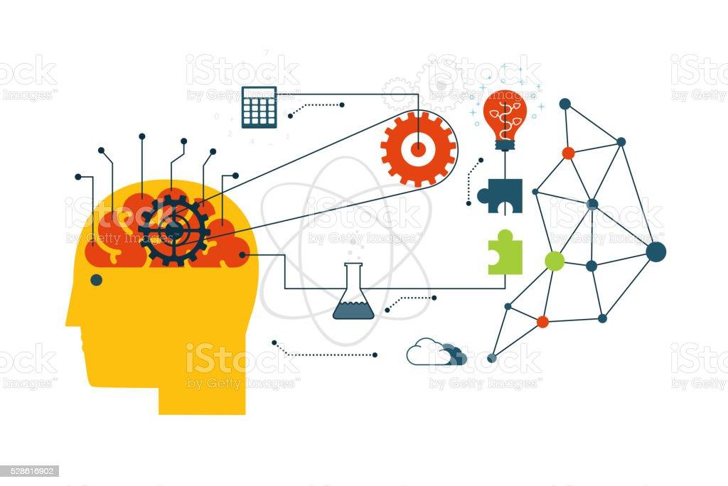 Scientific technology, engineering and mathematics. vector art illustration