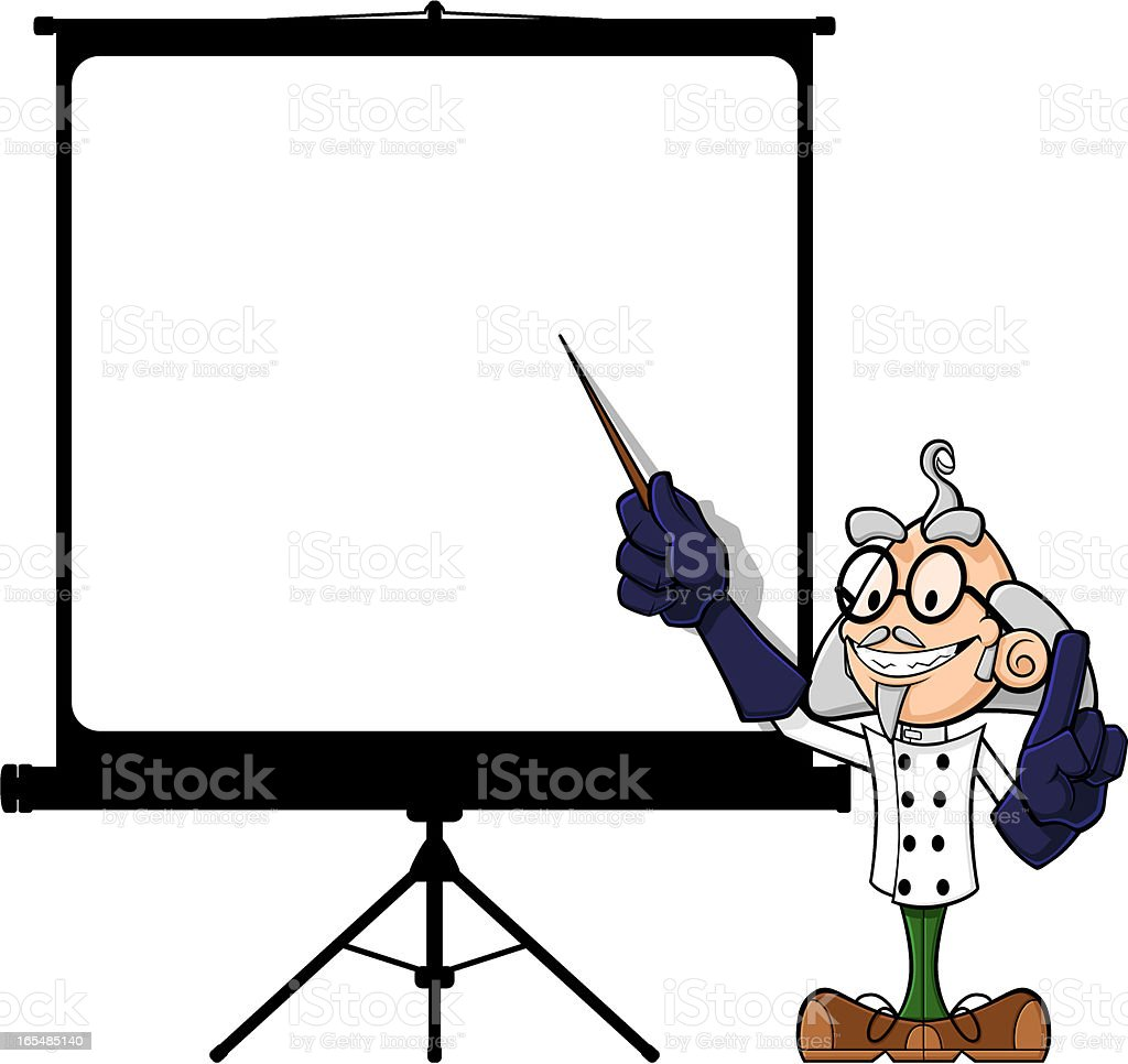 Scientist at projector screen royalty-free stock vector art