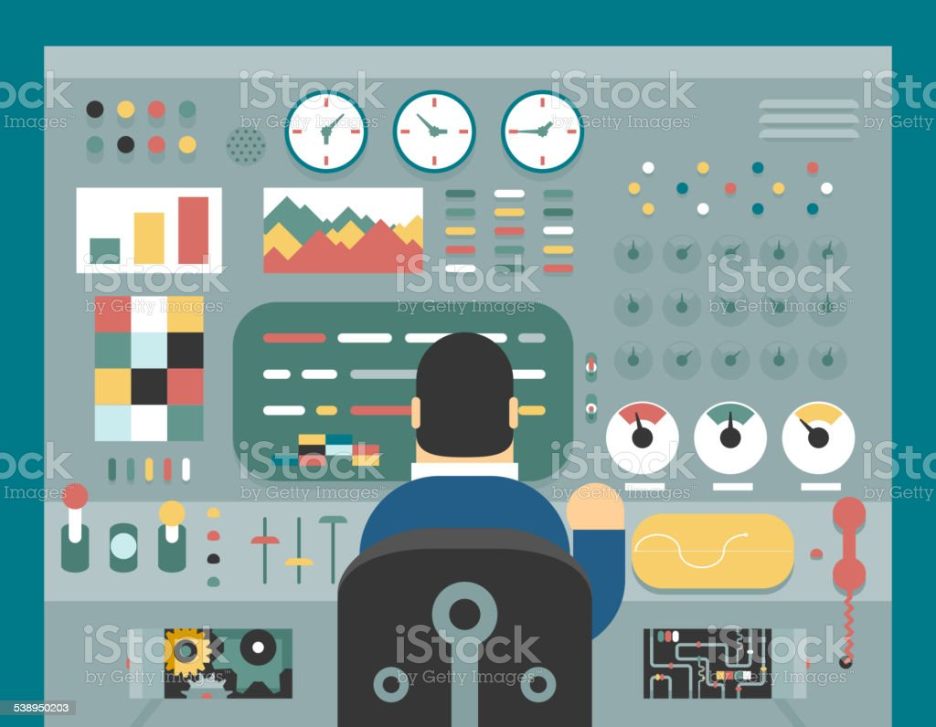 Scientist businessman work in front of control panel analysis production vector art illustration
