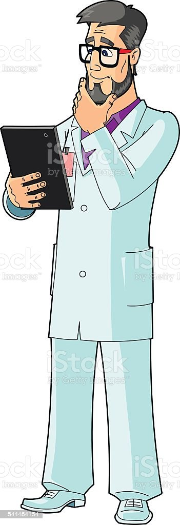 Scientist, engineer, doctor with tablet computer. The gesture of thoughtfulness. vector art illustration